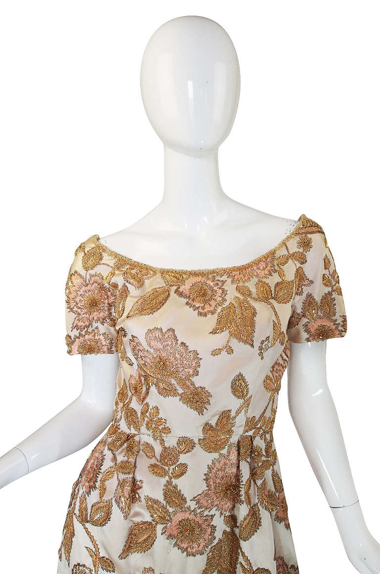1960s Jean Louis Bead & Embroidery Silk Gown In Excellent Condition For Sale In Rockwood, ON