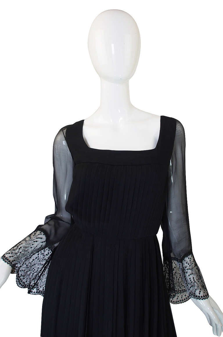 Black Rare 1960s Silk and Lace Jean Louis Dress For Sale
