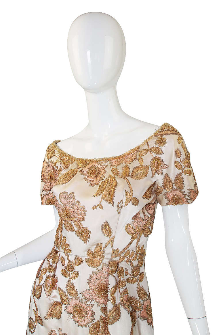 Women's 1960s Jean Louis Bead & Embroidery Silk Gown For Sale