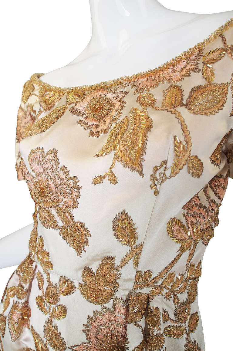 S jean louis bead and embroidery silk gown at stdibs