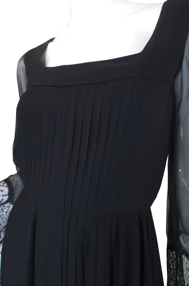 Rare 1960s Silk and Lace Jean Louis Dress For Sale 2
