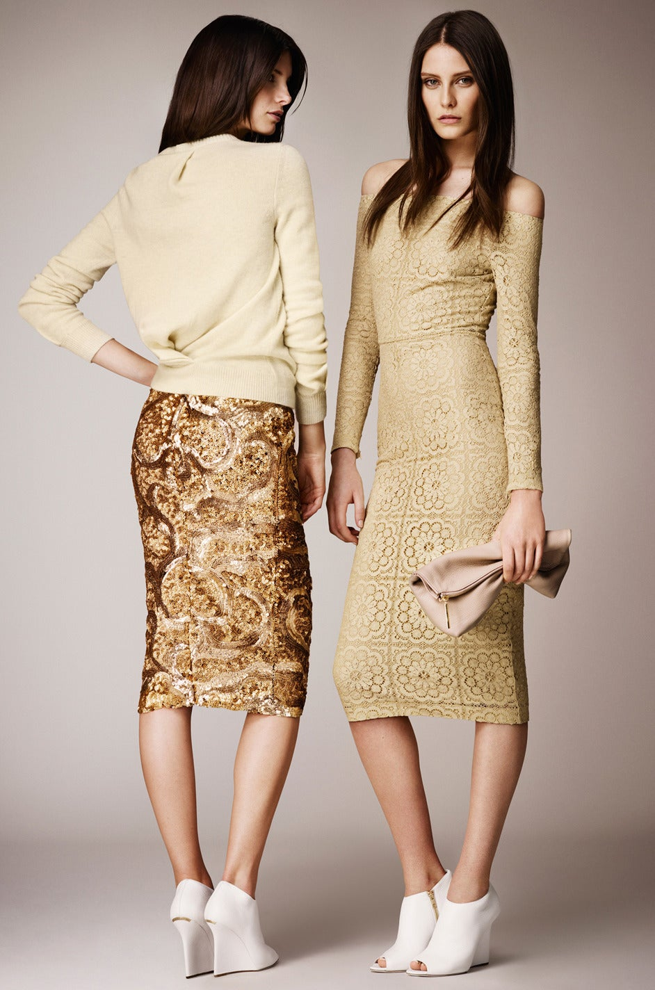 Resort 2014 Burberry Prorsum Hammered Gold Sequin Skirt For Sale 1