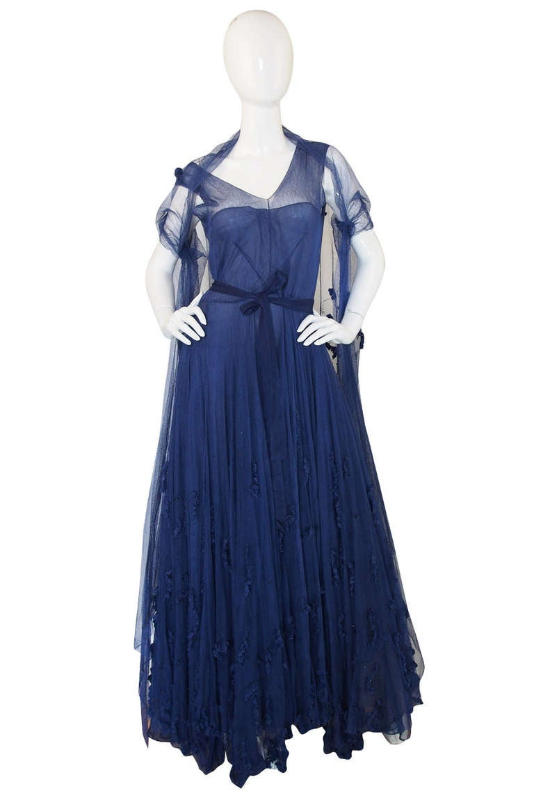 Late 1940s norman hartnell attr couture net gown at 1stdibs for How to become a haute couture designer