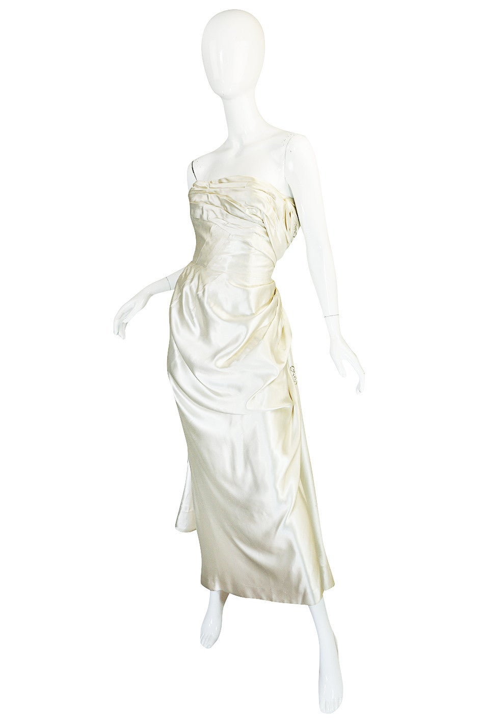 Gray c1959 Maggy Rouf Haute Couture Champagne Silk Gown For Sale