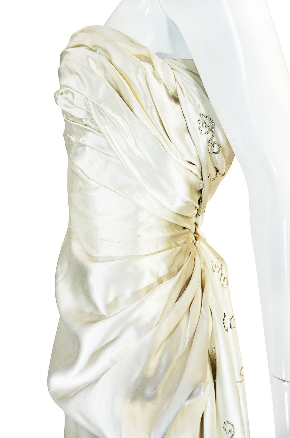 c1959 Maggy Rouf Haute Couture Champagne Silk Gown For Sale 2