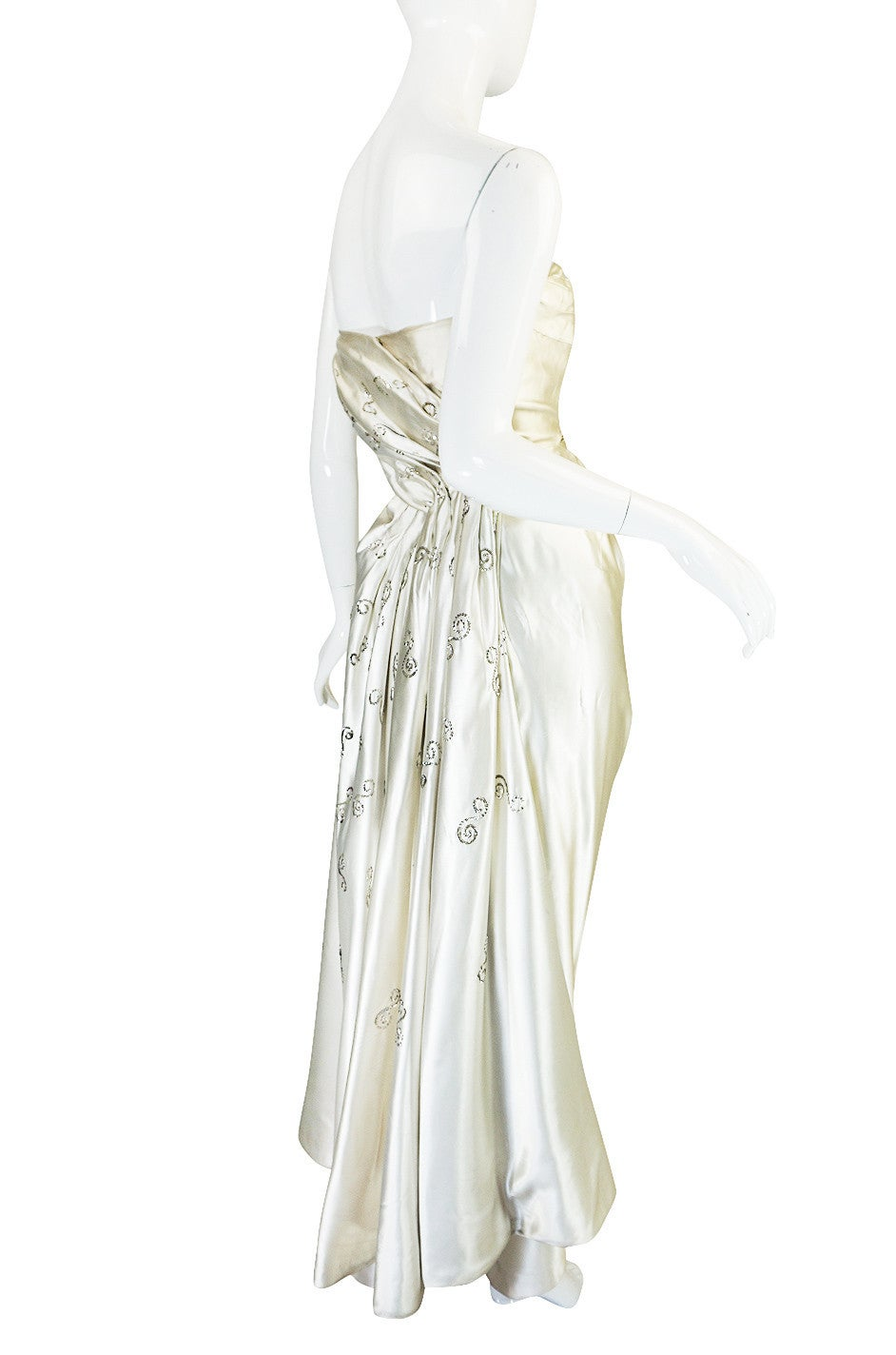 c1959 maggy rouf haute couture champagne silk gown for