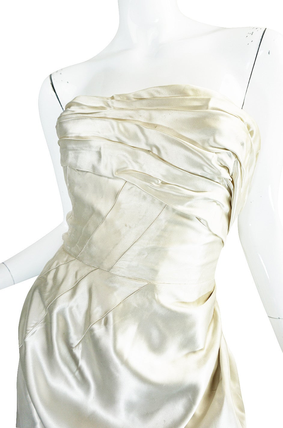 c1959 Maggy Rouf Haute Couture Champagne Silk Gown For Sale 3