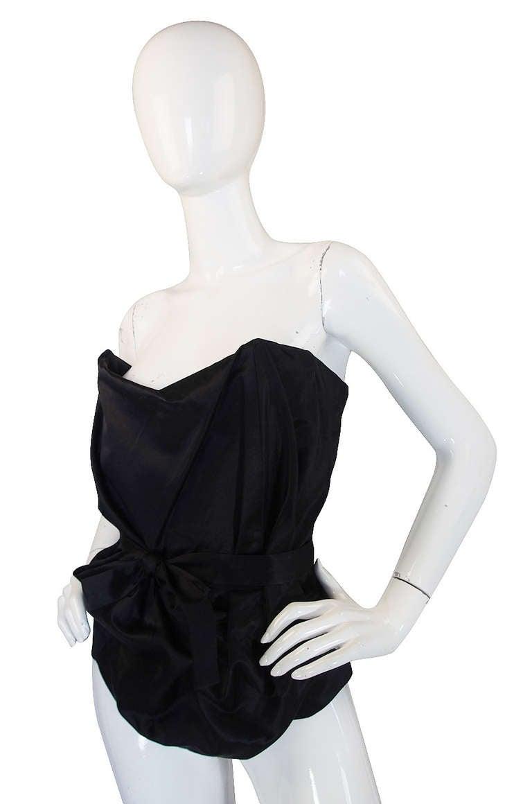 1990s Vivienne Westwood Gold Label Black Silk Corset Top 3