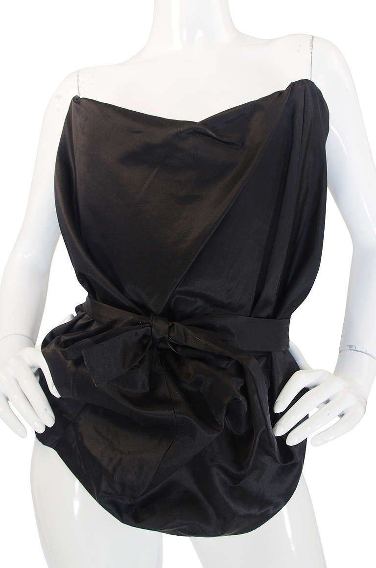 1990s Vivienne Westwood Gold Label Black Silk Corset Top 4