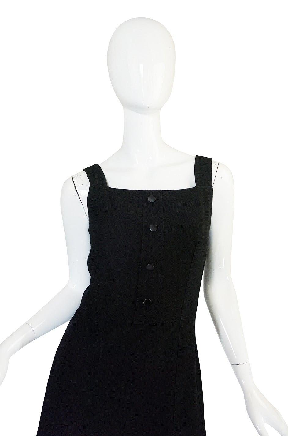 Black 1960s Courreges HyperBole Twirling Skirt Sleeveless Dress For Sale