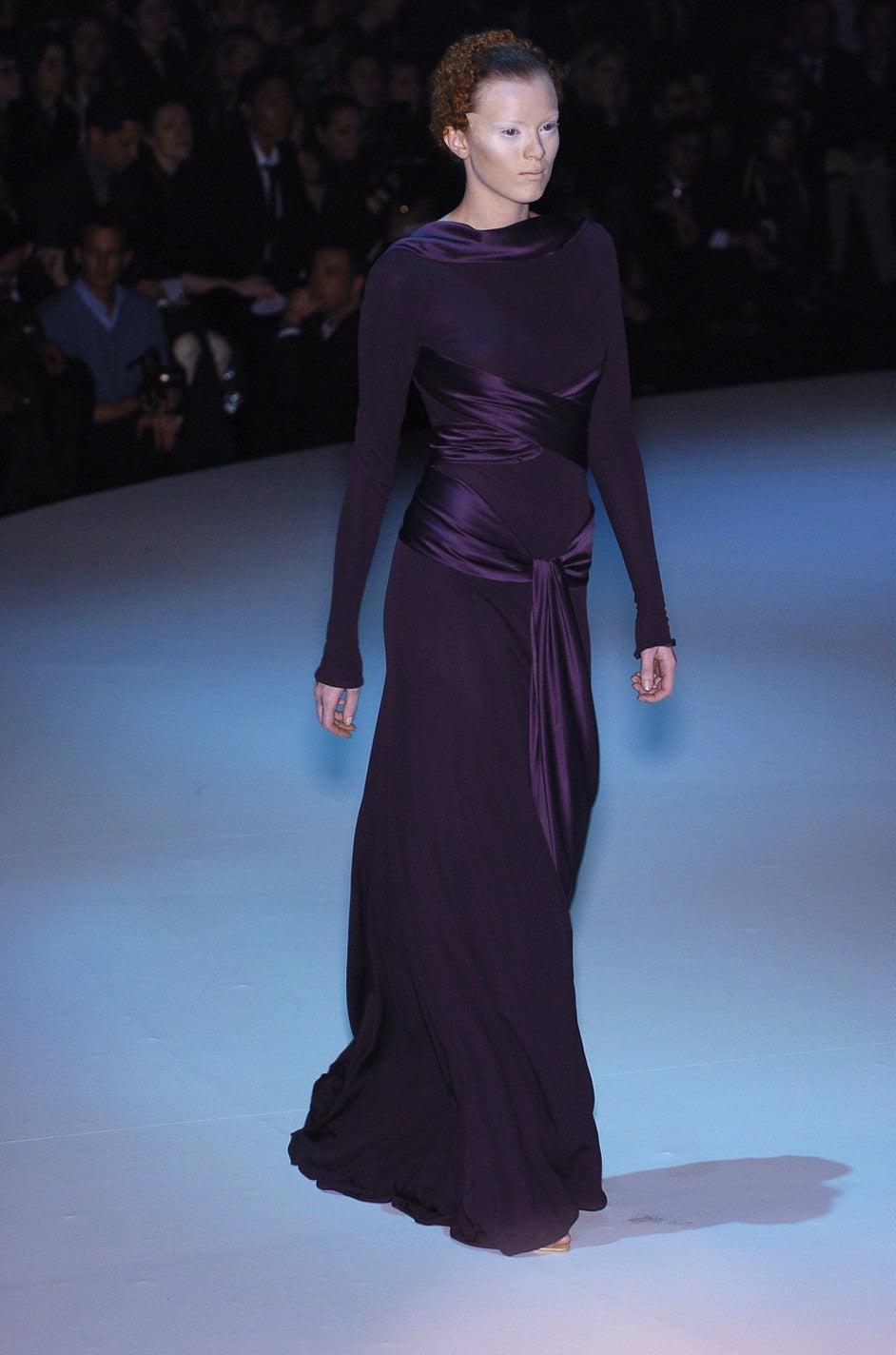 2004 F/W Alexander McQueen Purple Tie Runway Dress For Sale 3