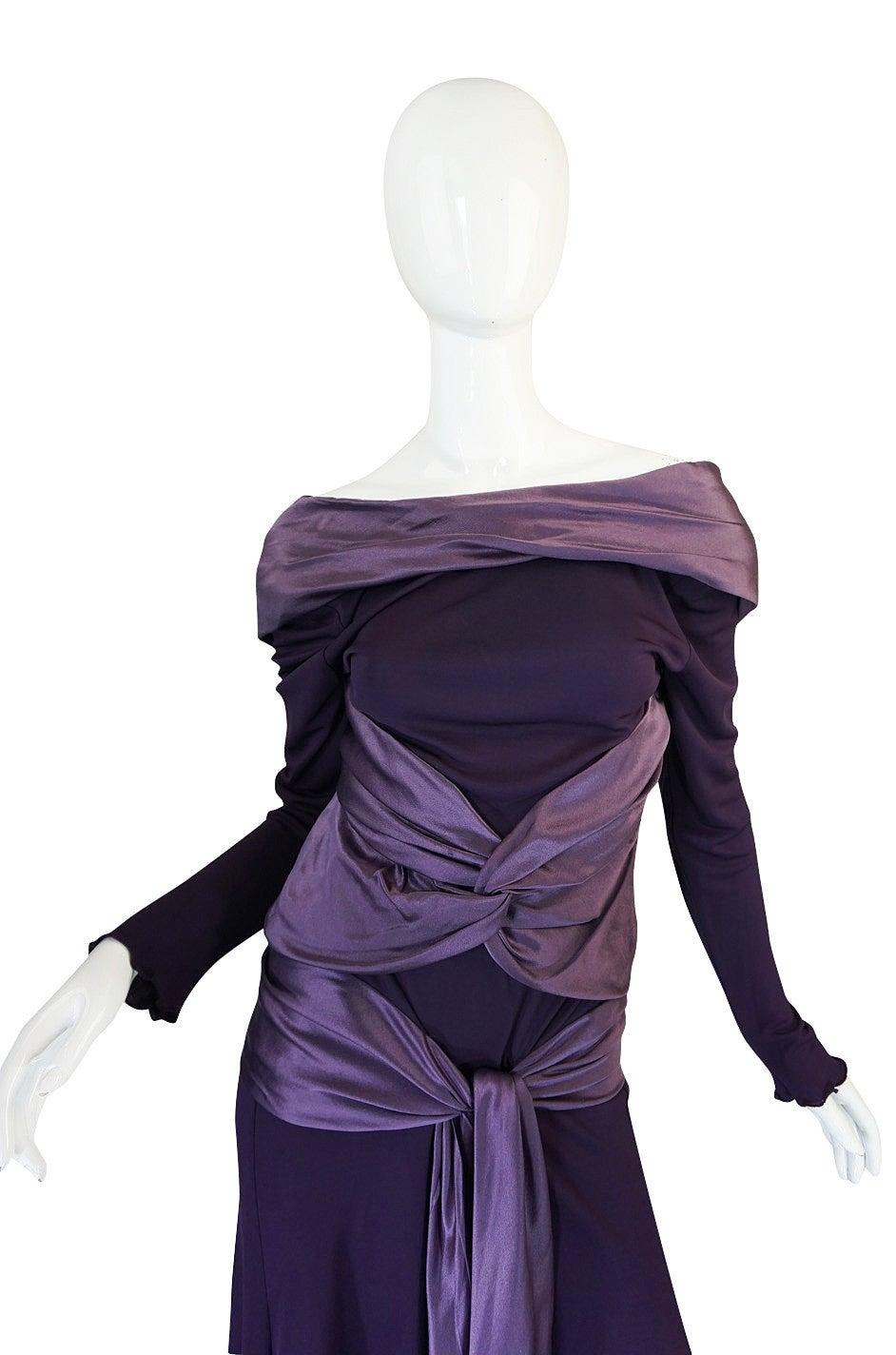 Women's 2004 F/W Alexander McQueen Purple Tie Runway Dress For Sale