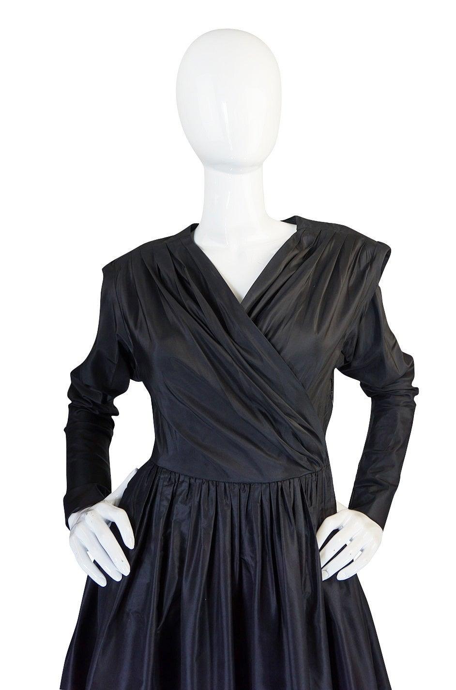 Exceptional 1970s Yves Saint Laurent Black Silk Dress 5