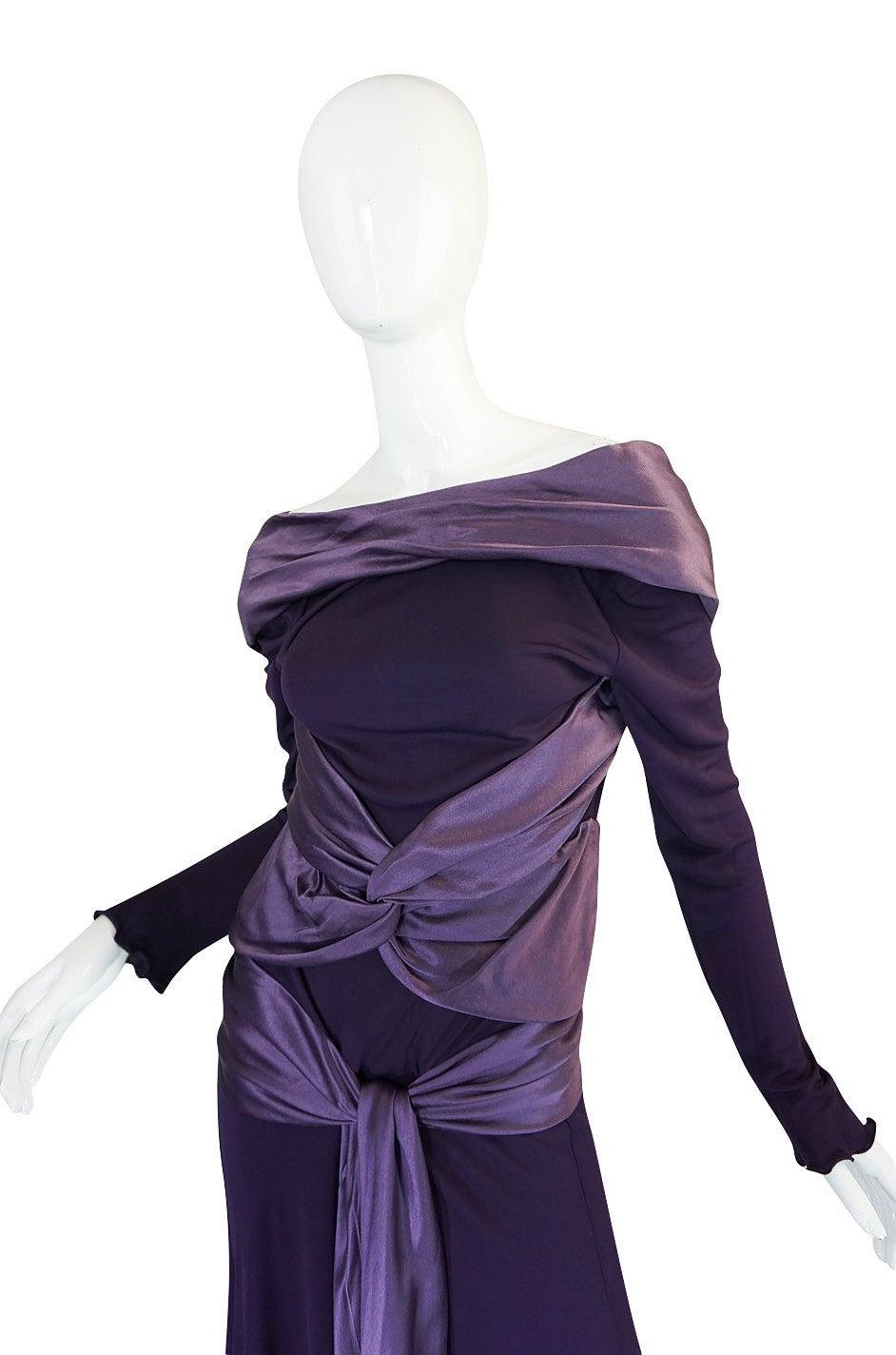 2004 F/W Alexander McQueen Purple Tie Runway Dress In Excellent Condition For Sale In Toronto, CA