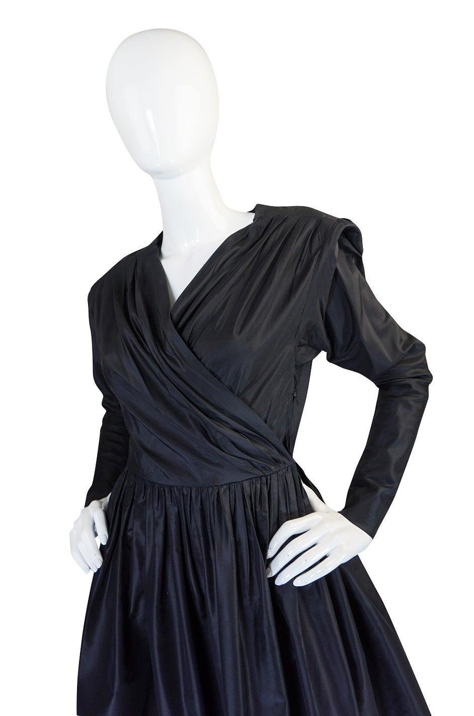 Exceptional 1970s Yves Saint Laurent Black Silk Dress 4