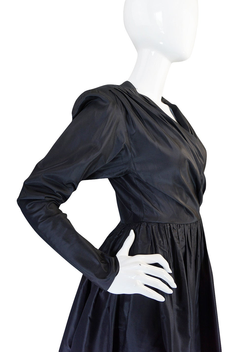 Exceptional 1970s Yves Saint Laurent Black Silk Dress 6