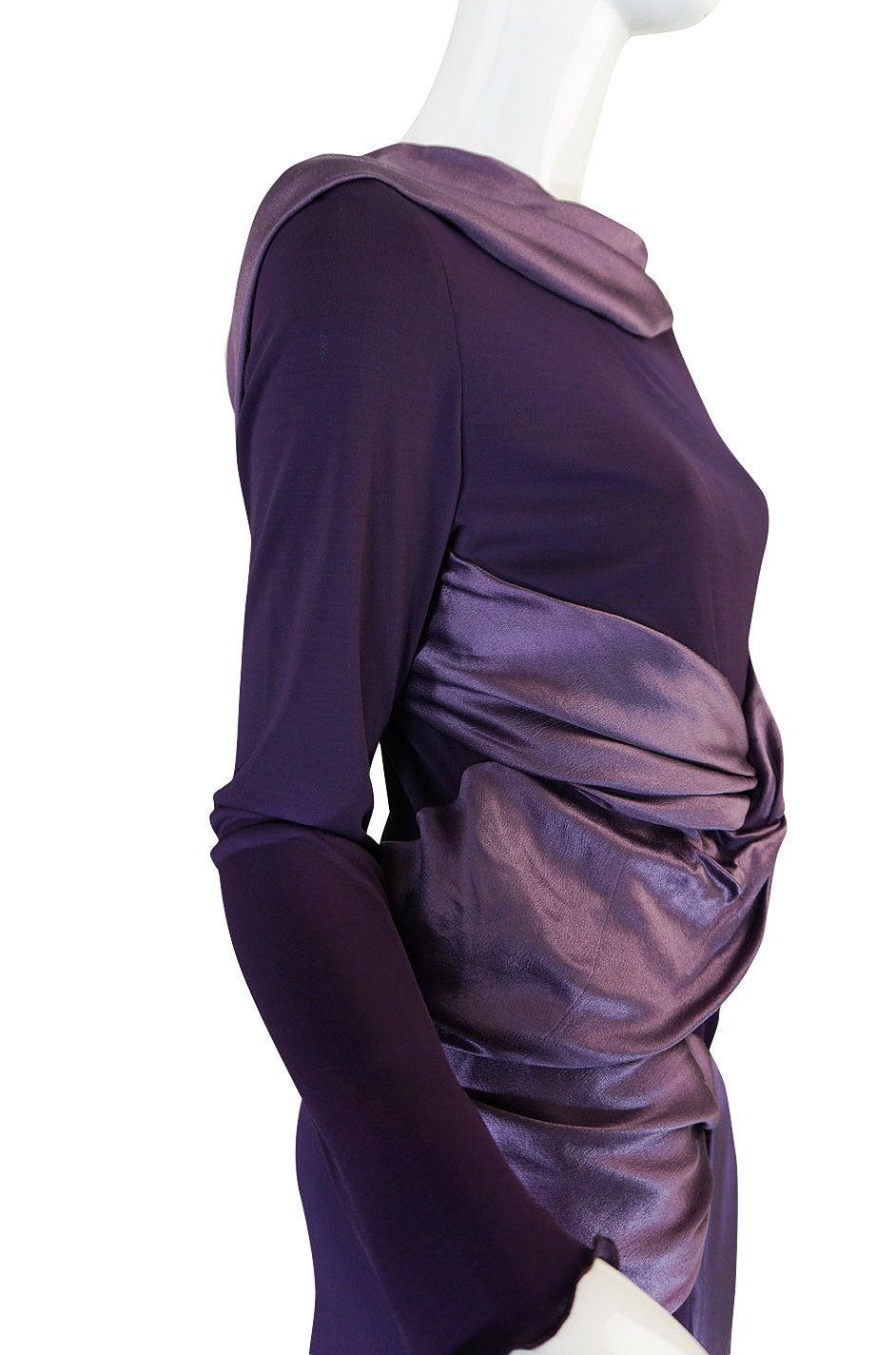 Black 2004 F/W Alexander McQueen Purple Tie Runway Dress For Sale