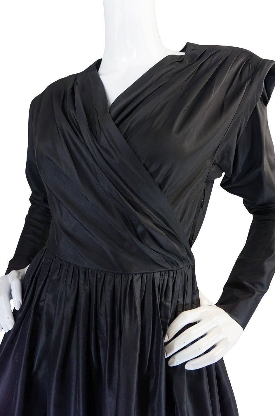 Exceptional 1970s Yves Saint Laurent Black Silk Dress 7