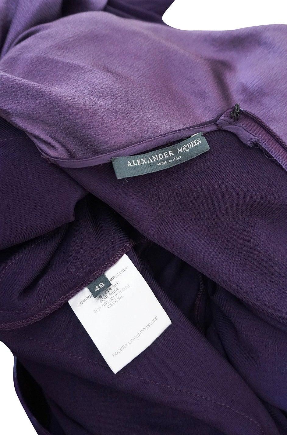 2004 F/W Alexander McQueen Purple Tie Runway Dress For Sale 1