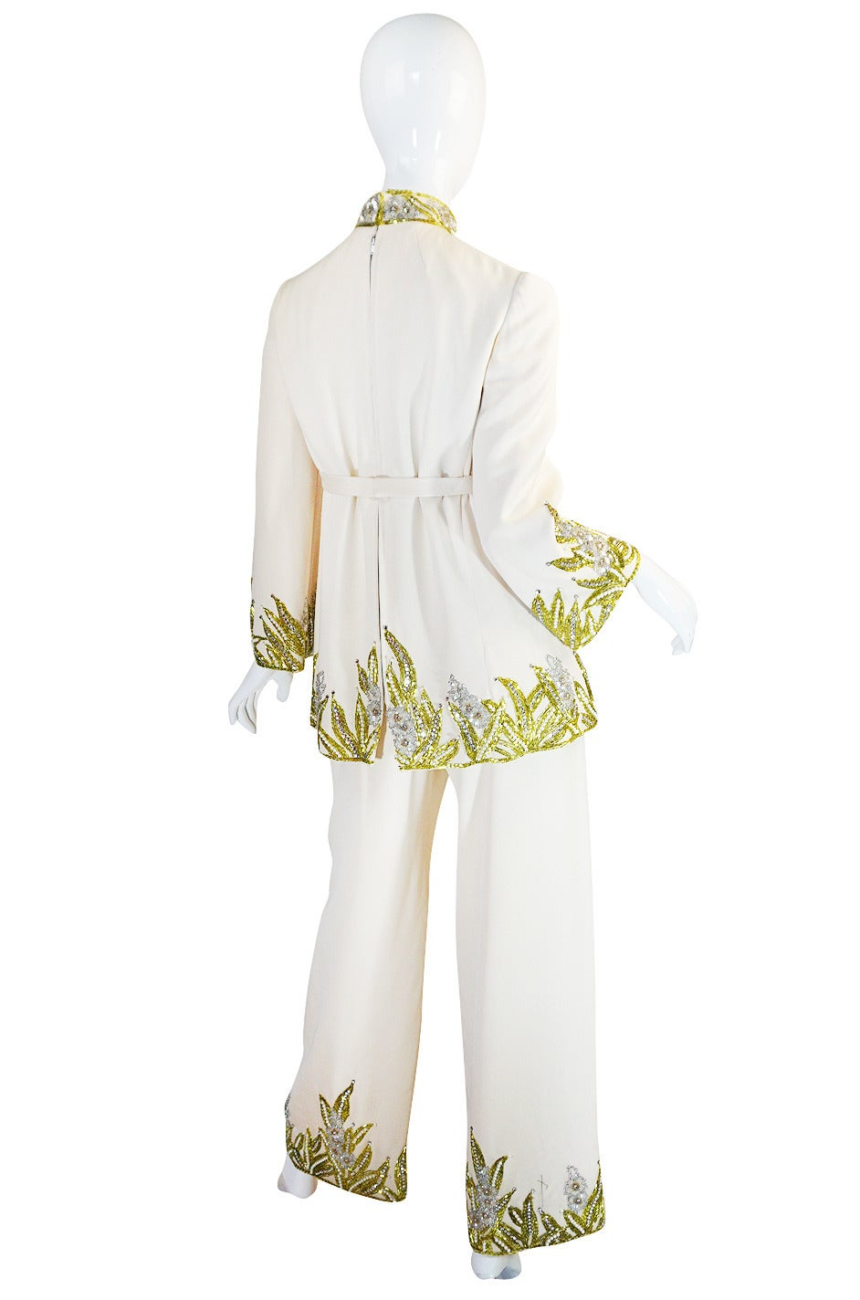 1960s Michael Novarese Heavily Beaded Silk Pantsuit 2