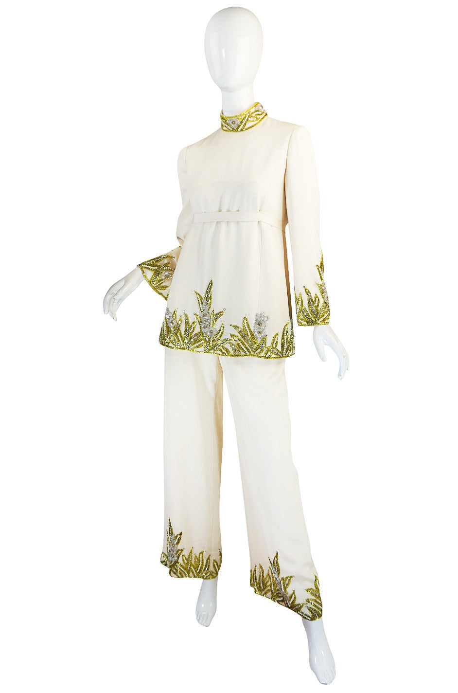 1960s Michael Novarese Heavily Beaded Silk Pantsuit 3