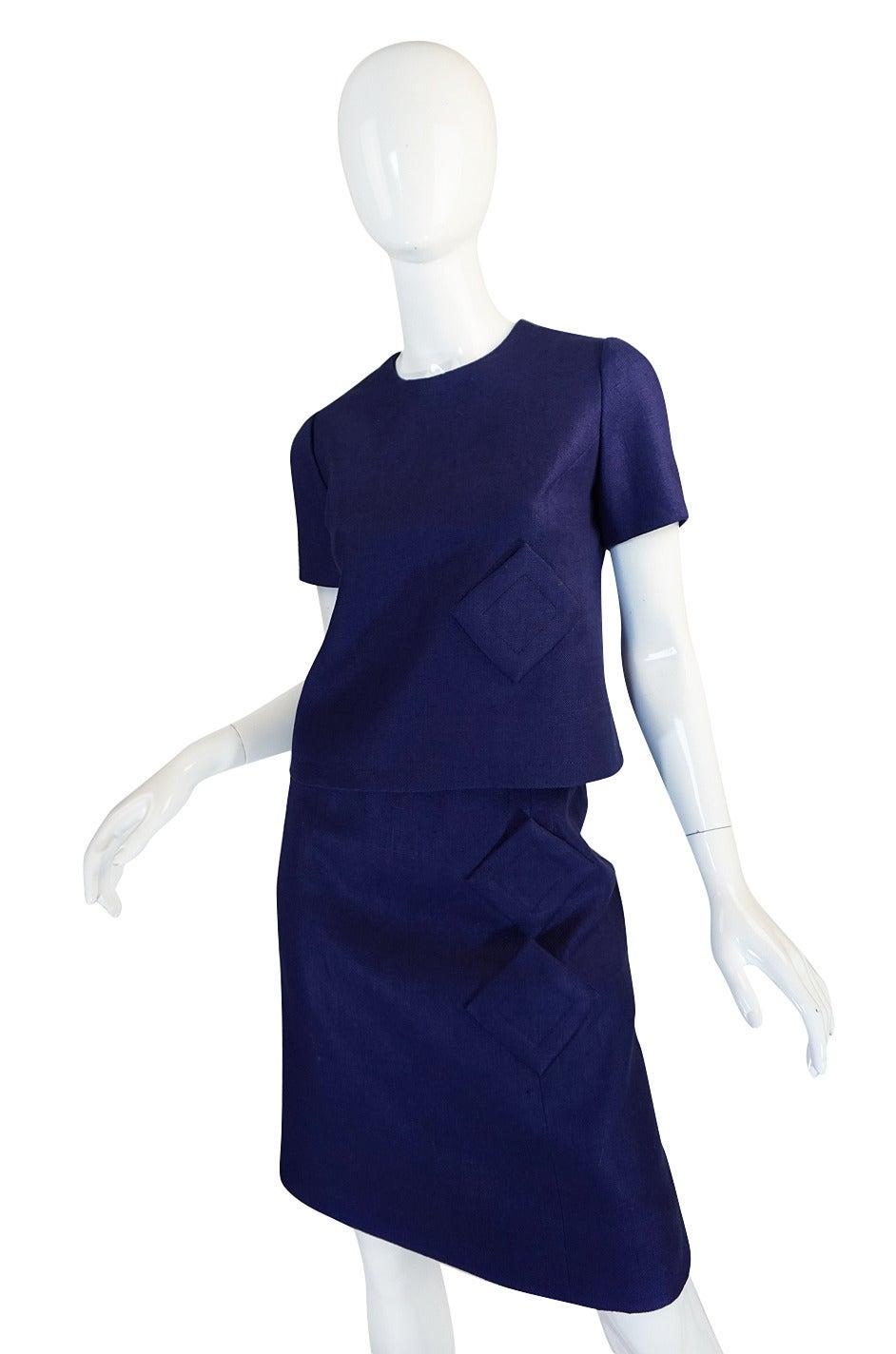 Early 1960s Pierre Cardin for Takashimaya Blue Linen Suit ...