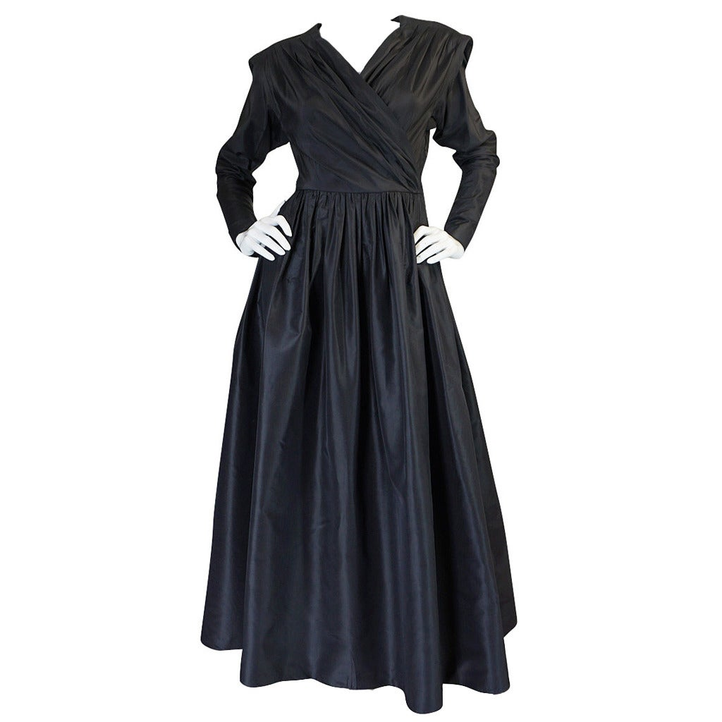 Exceptional 1970s Yves Saint Laurent Black Silk Dress
