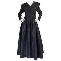 Exceptional 1970s Yves Saint Laurent Black Silk Dress