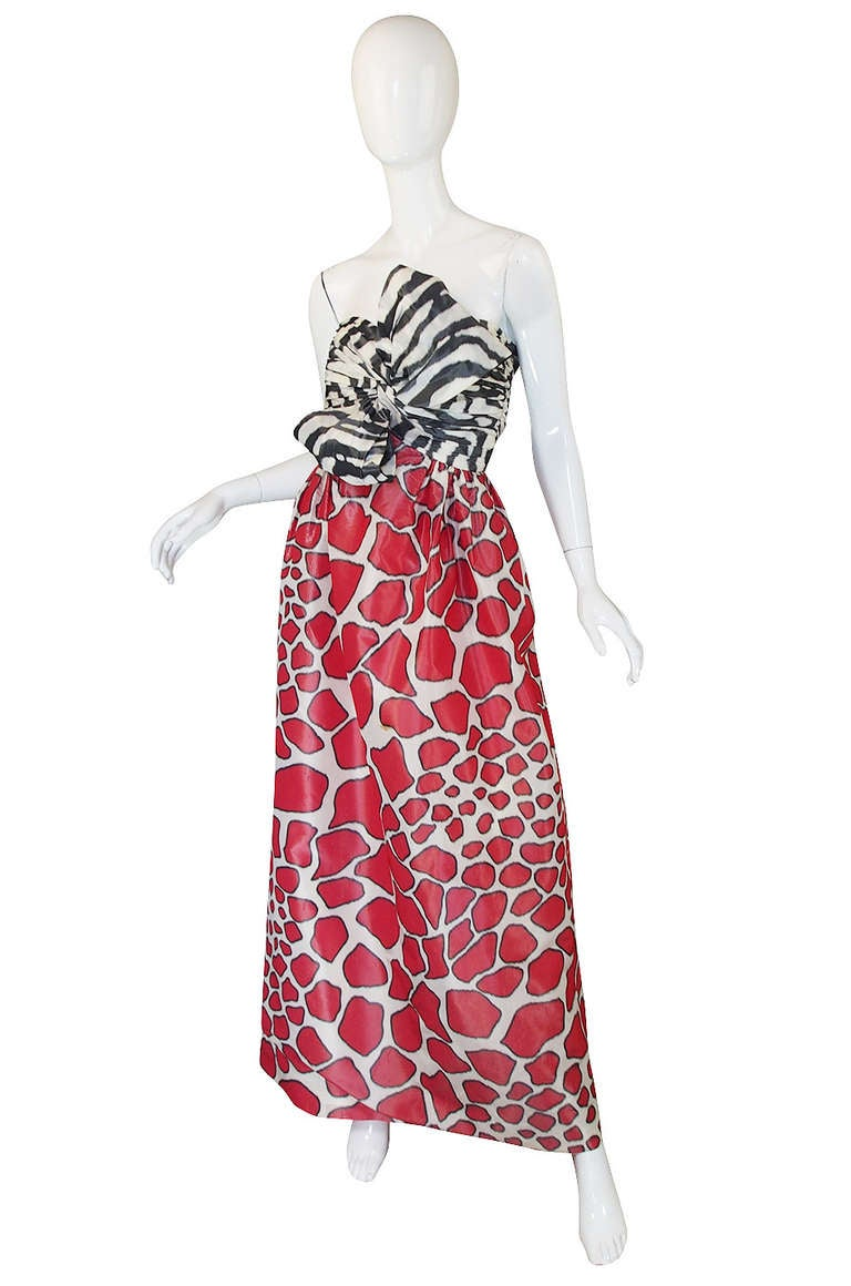 Pink Adolfo Silk Print Strapless Gown, 1967  For Sale