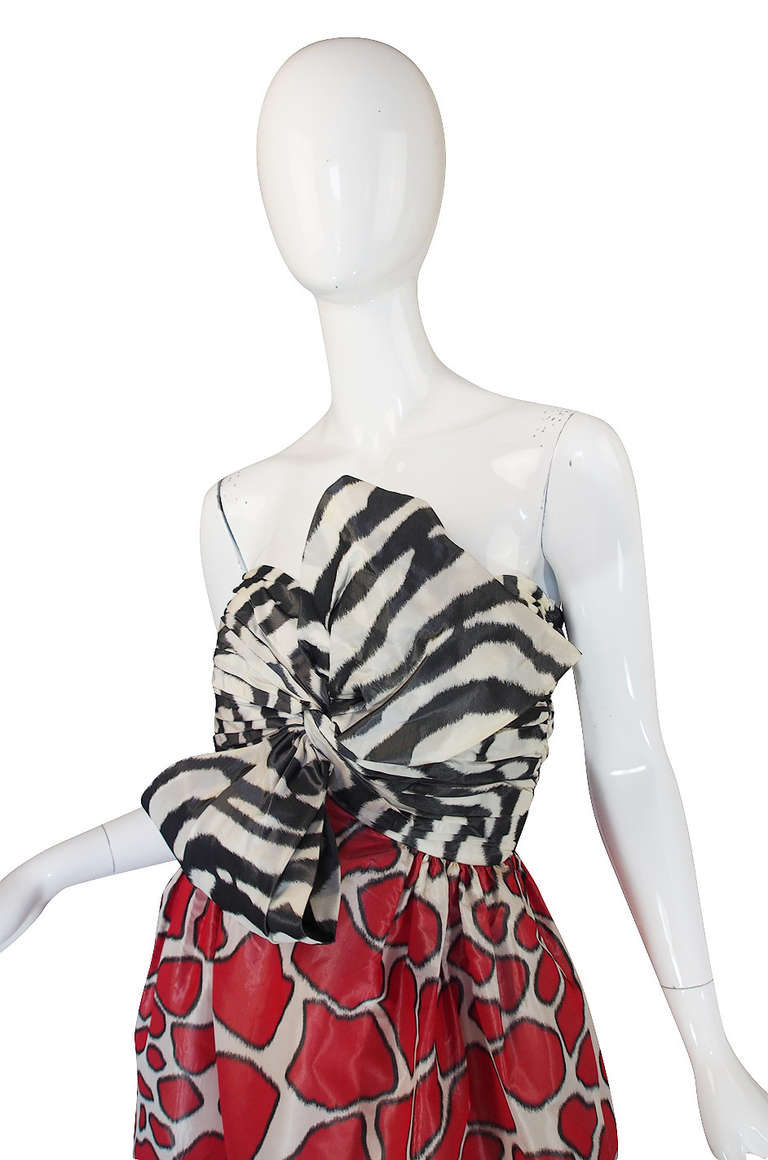 Women's Adolfo Silk Print Strapless Gown, 1967  For Sale