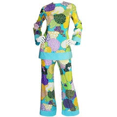 1960s Sequin Covered Bright Bob Bugnand Pant Suit