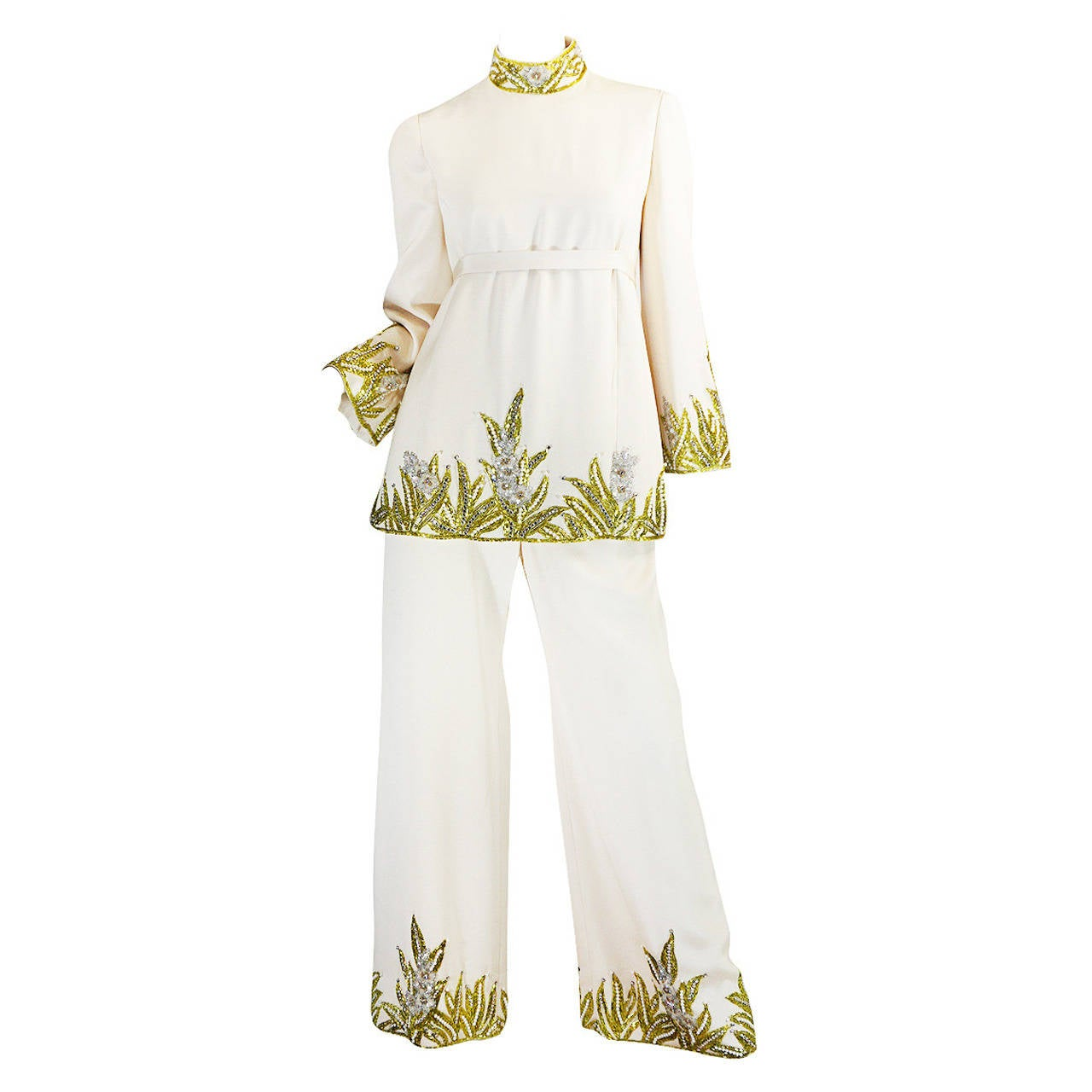 1960s Michael Novarese Heavily Beaded Silk Pantsuit 1