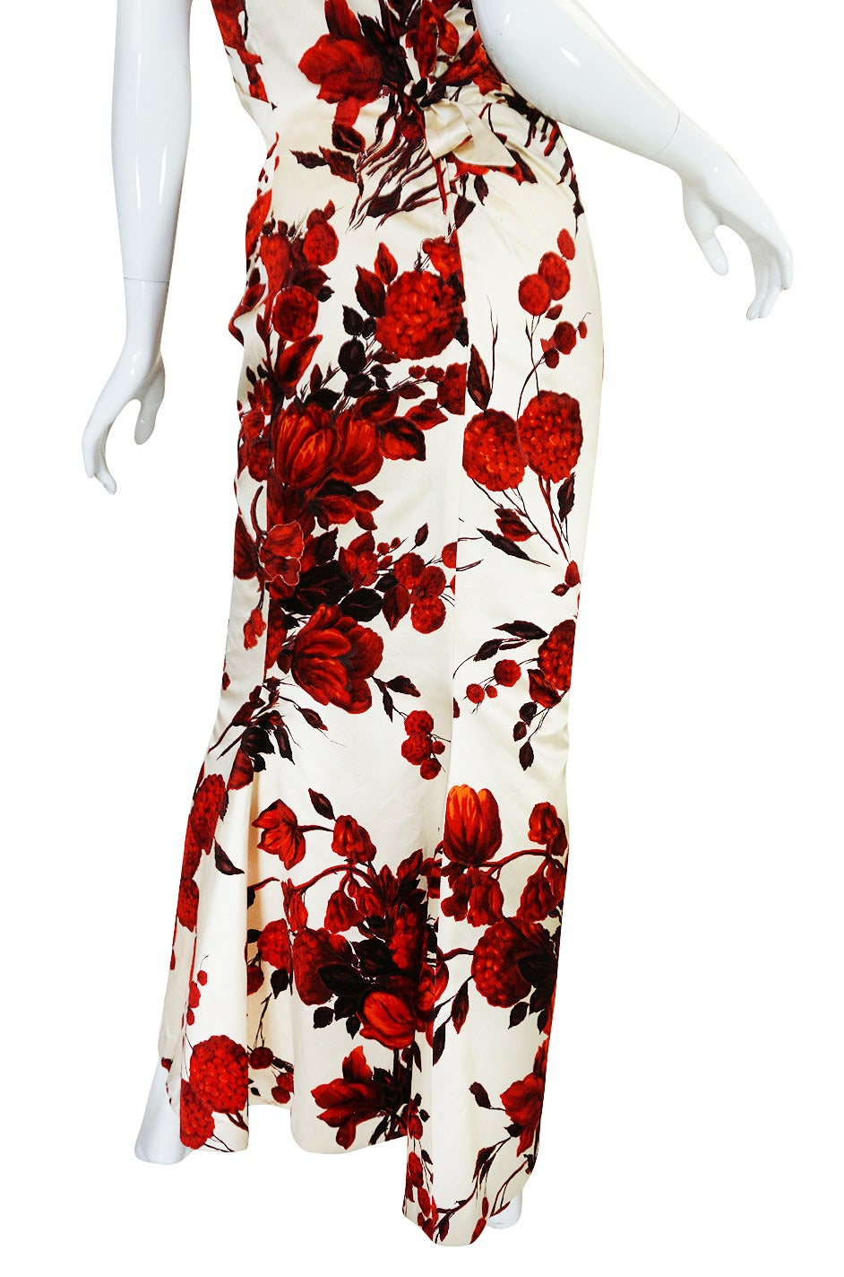 1950s Rare Silk Couture Philipe Hulitar Floral Gown 7