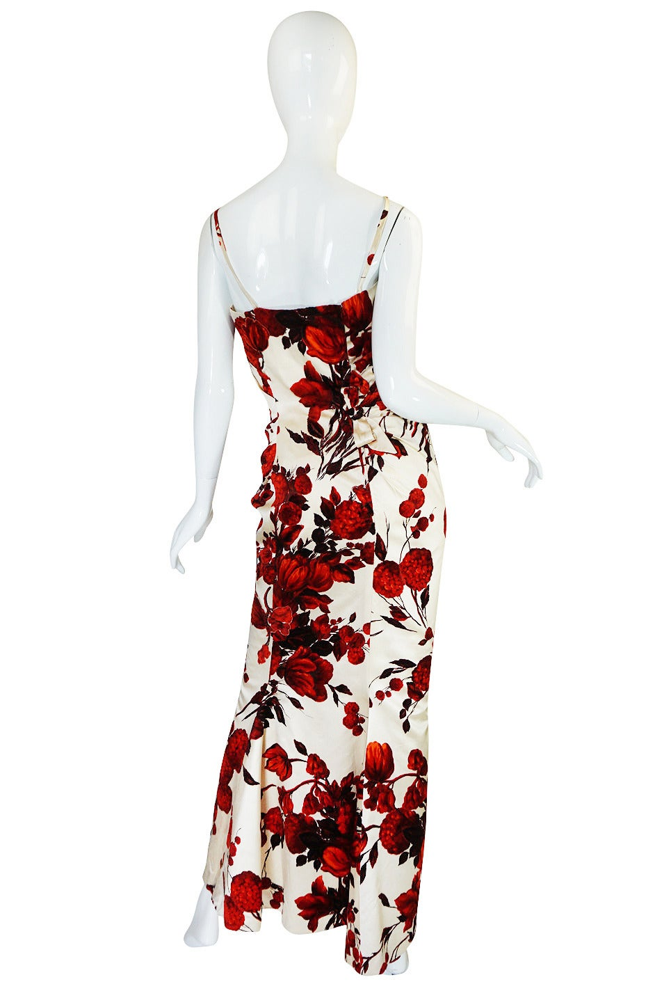 1950s Rare Silk Couture Philipe Hulitar Floral Gown 2