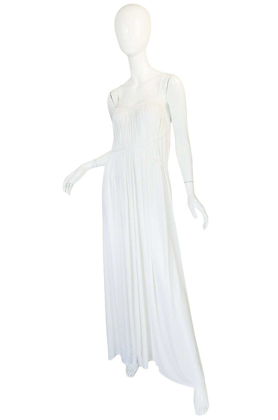 Gray 1970s Ossie Clark Attr Quorum White Jersey Dress For Sale