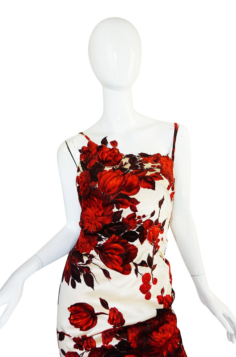 1950s Rare Silk Couture Philipe Hulitar Floral Gown 3