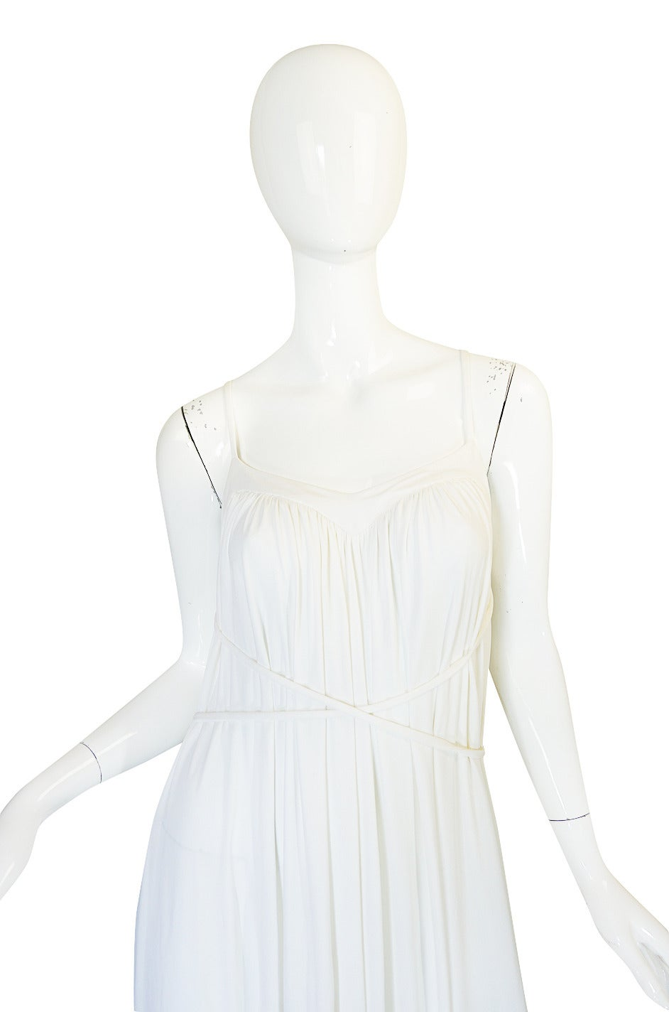 Women's 1970s Ossie Clark Attr Quorum White Jersey Dress For Sale
