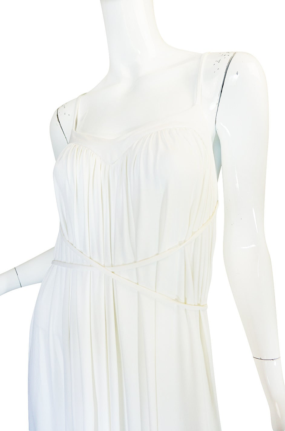 1970s Ossie Clark Attr Quorum White Jersey Dress For Sale 2