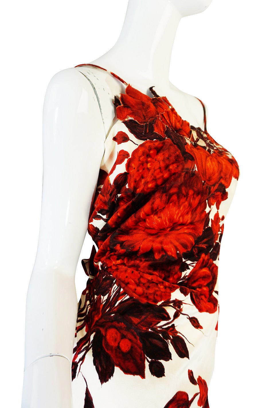 1950s Rare Silk Couture Philipe Hulitar Floral Gown 5
