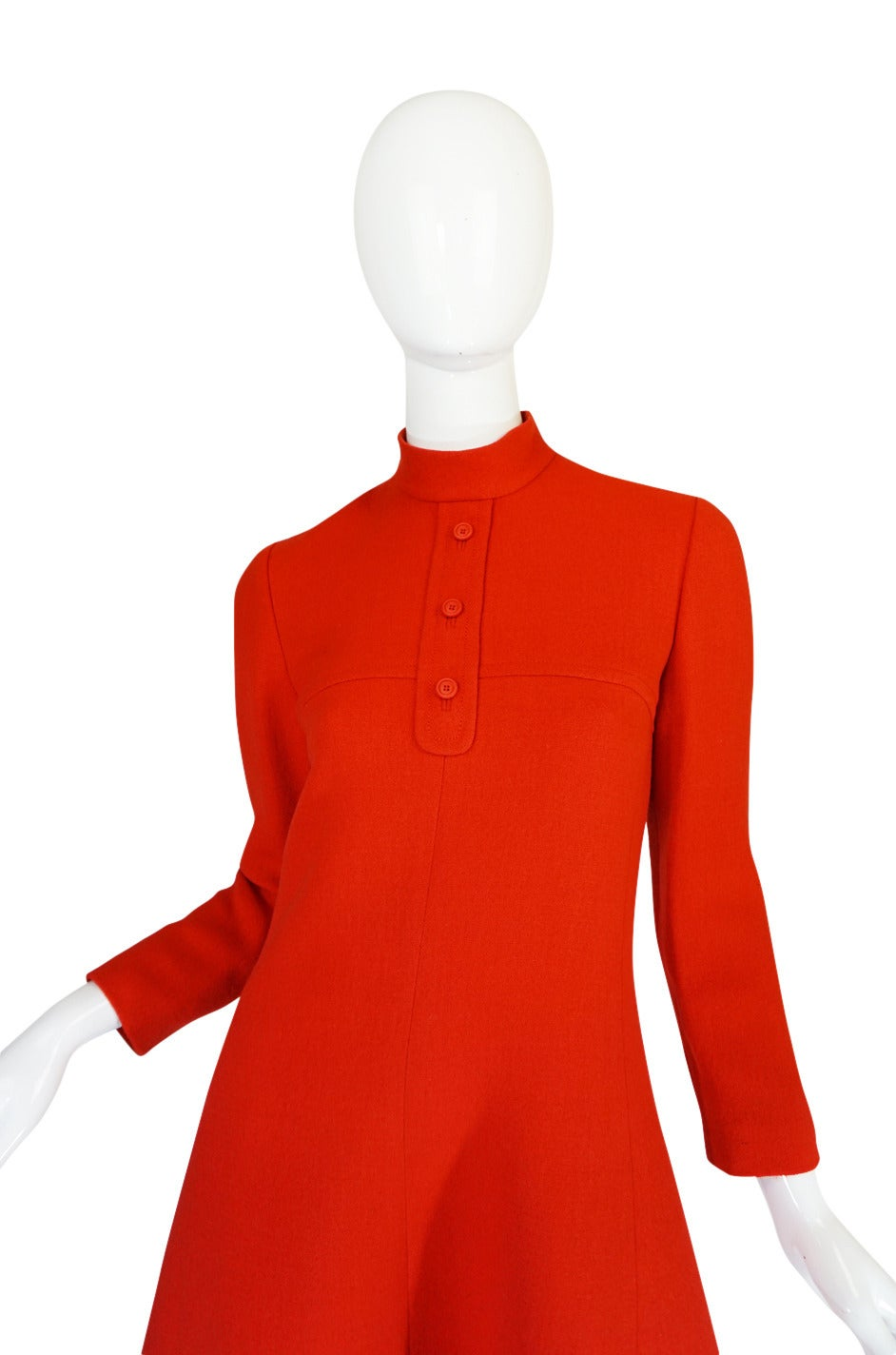 1960s Miss Dior Chic Bright Red Mod Dress For Sale 3