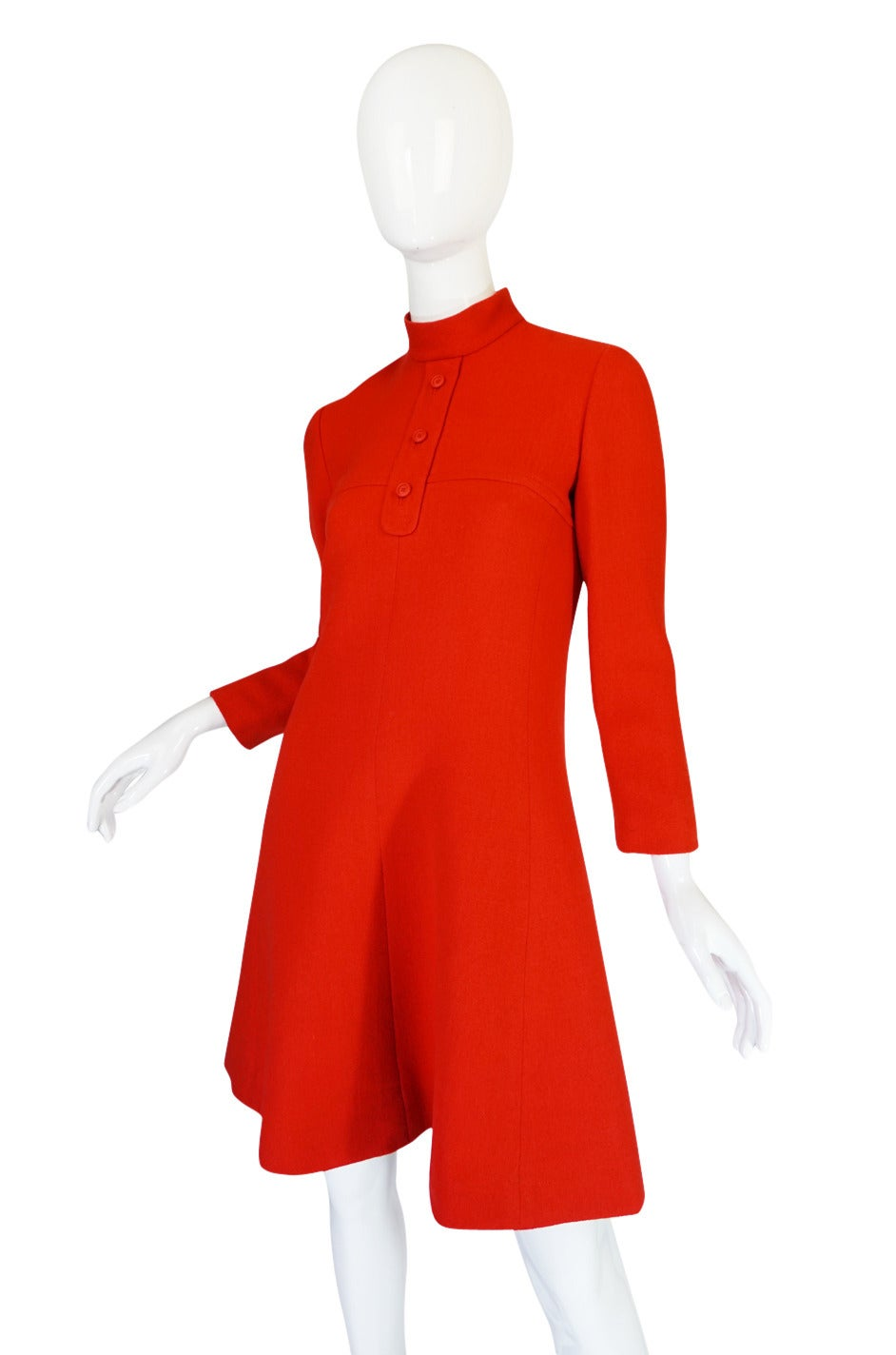 1960s Miss Dior Chic Bright Red Mod Dress In Excellent Condition For Sale In Toronto, CA