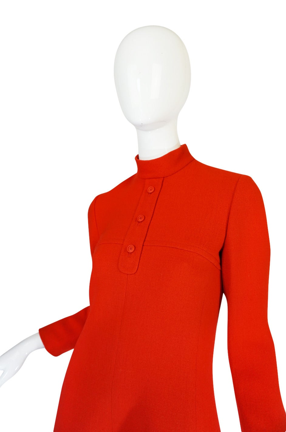1960s Miss Dior Chic Bright Red Mod Dress For Sale 2