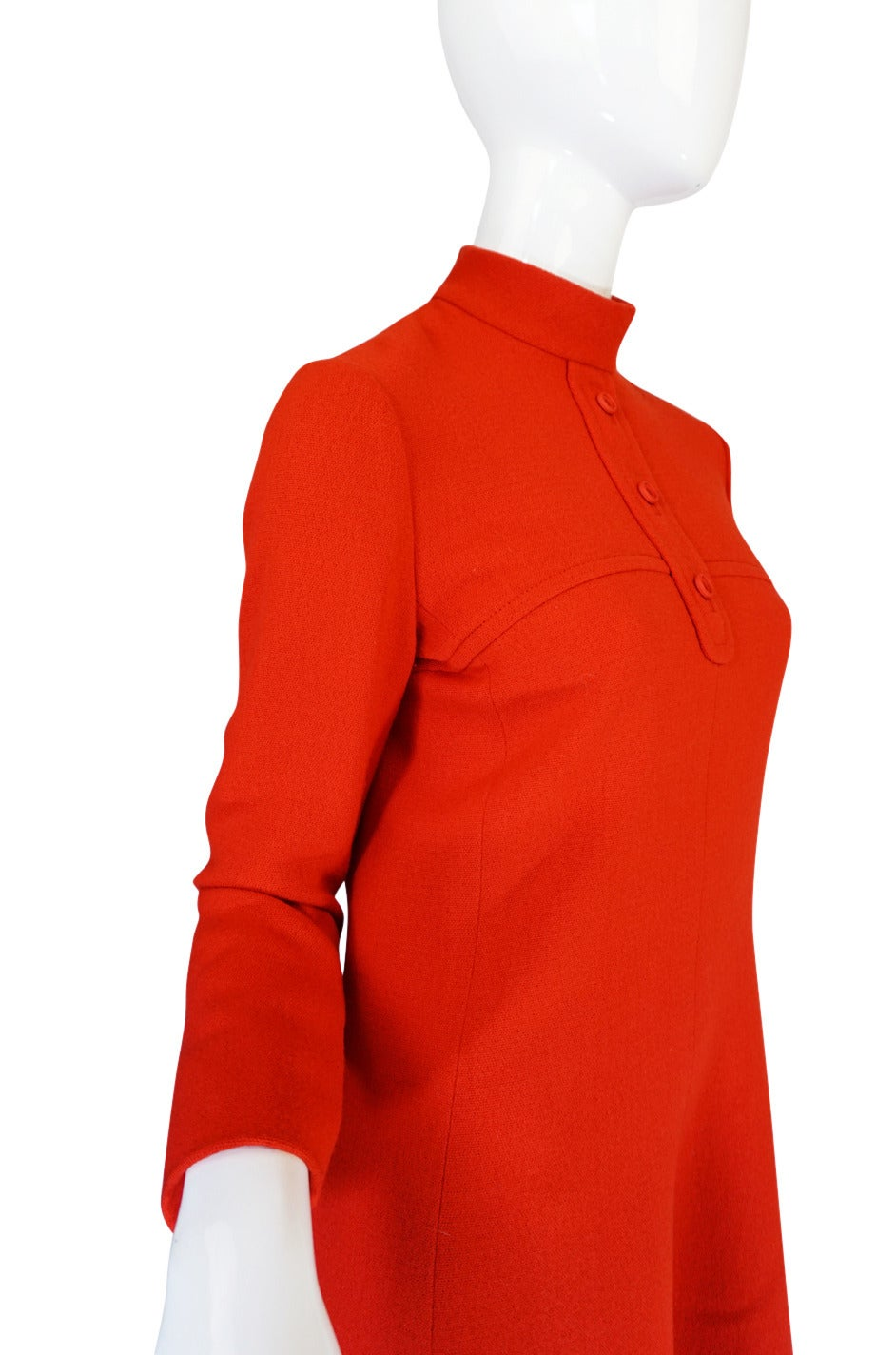 Women's 1960s Miss Dior Chic Bright Red Mod Dress For Sale