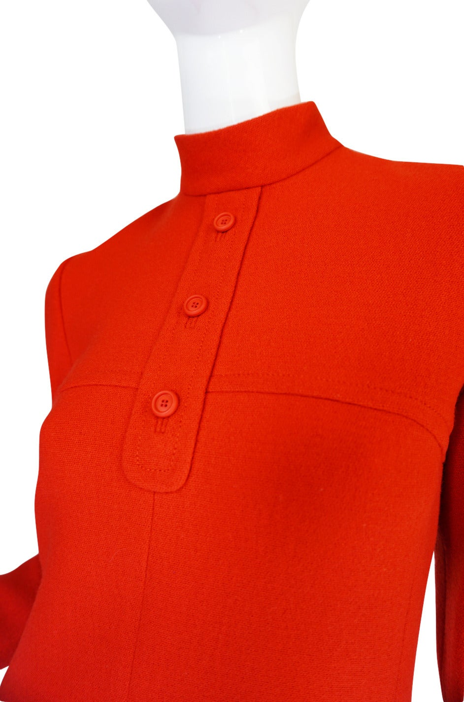 1960s Miss Dior Chic Bright Red Mod Dress For Sale 4