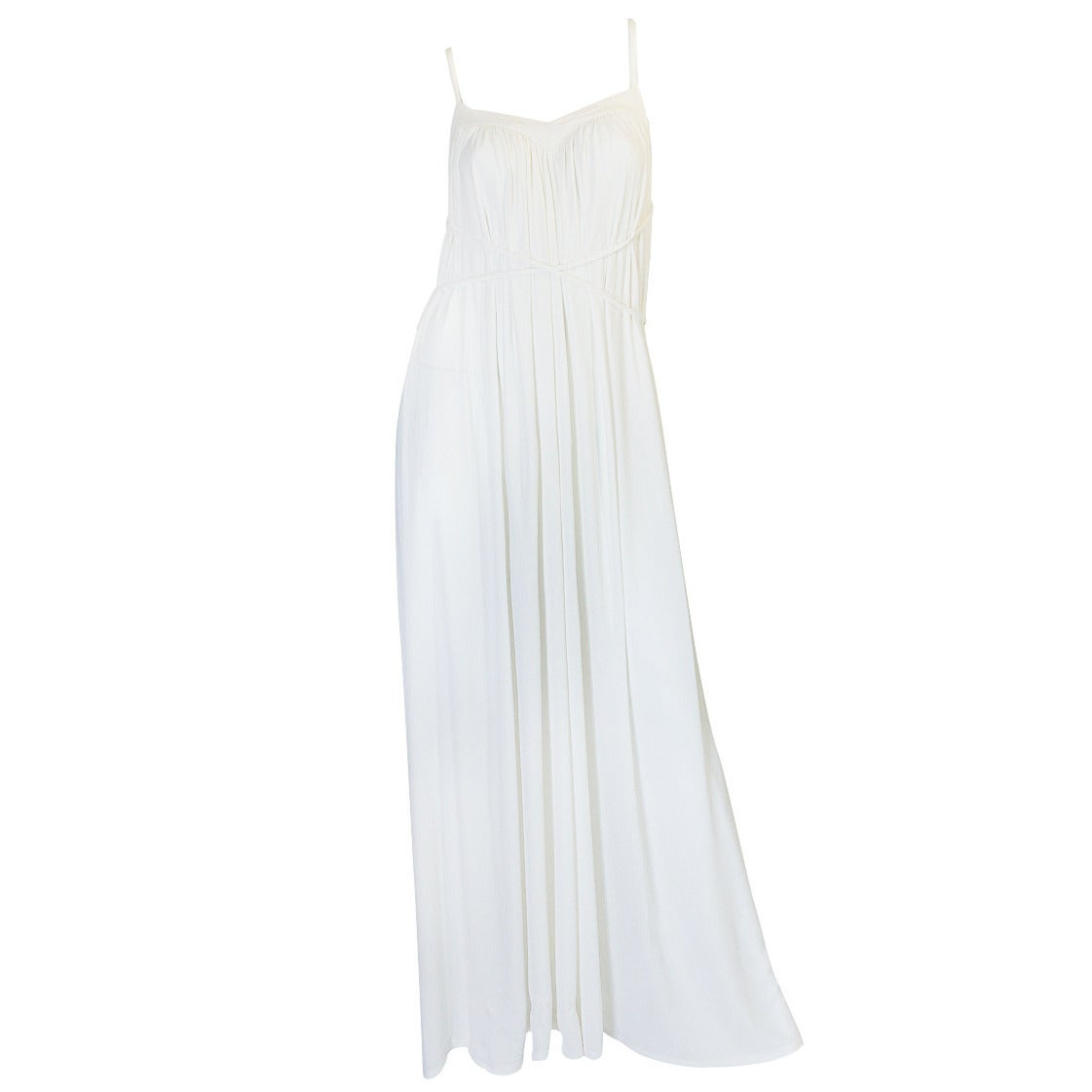 1970s Ossie Clark Attr Quorum White Jersey Dress For Sale