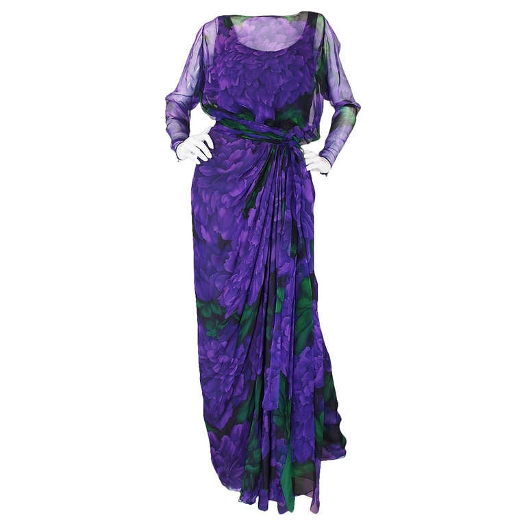 James Galanos Couture Purple Silk Chiffon Print Dress, 1970s