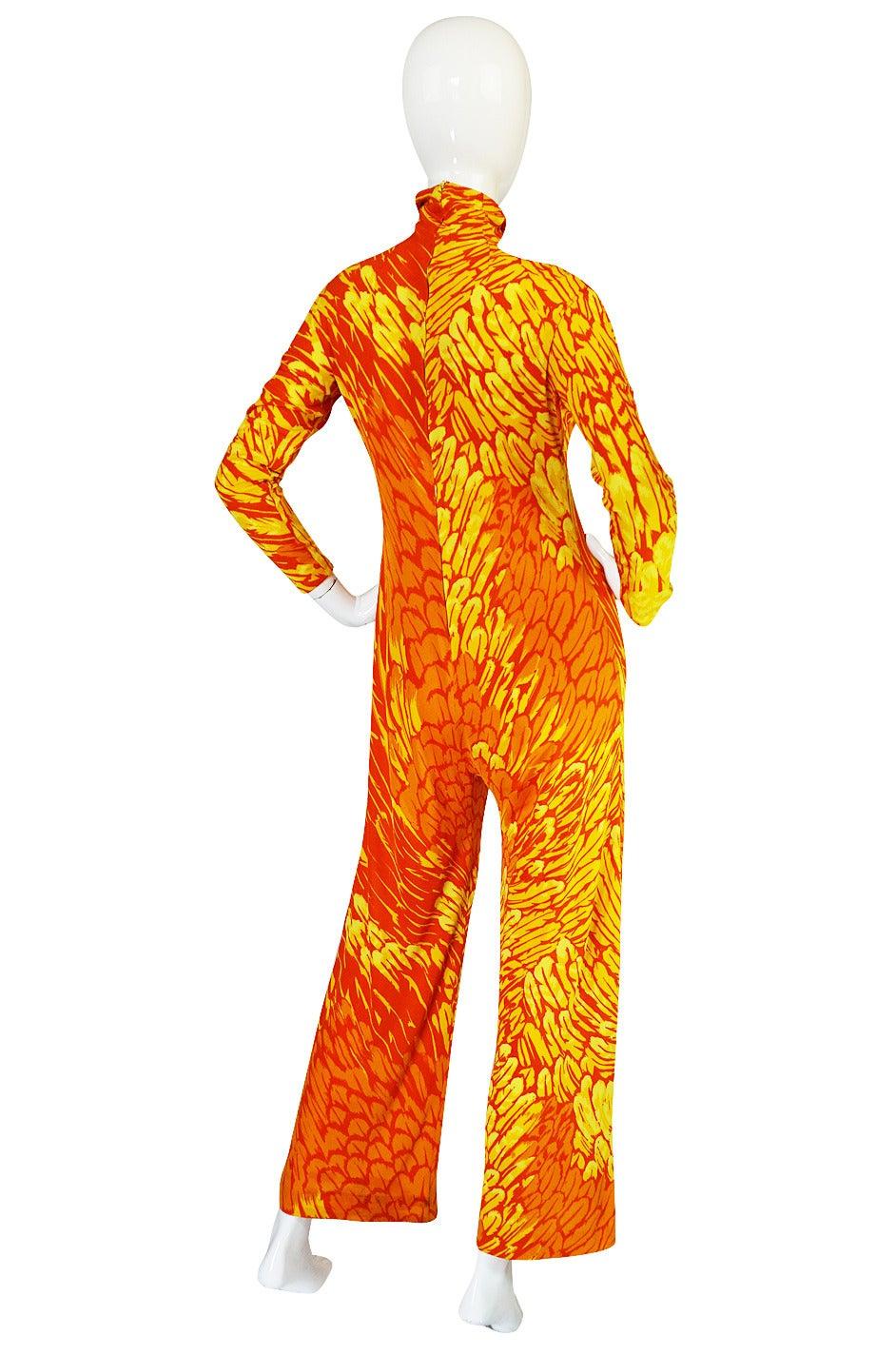 1970s La Mendola Silk Jersey Jumpsuit & Silk Chiffon Overlay 4