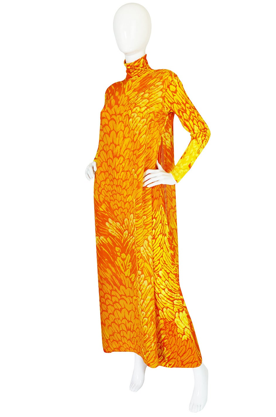 Orange 1970s La Mendola Silk Jersey Jumpsuit & Silk Chiffon Overlay For Sale