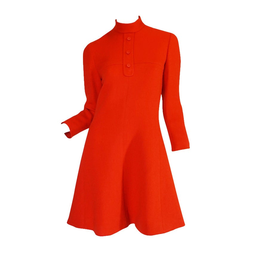 1960s Miss Dior Chic Bright Red Mod Dress For Sale