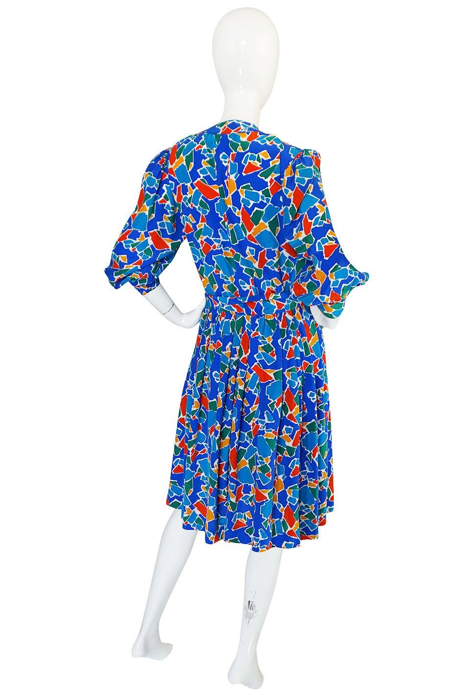 1980s Yves Saint Laurent Blue & Brights Silk Dress 2